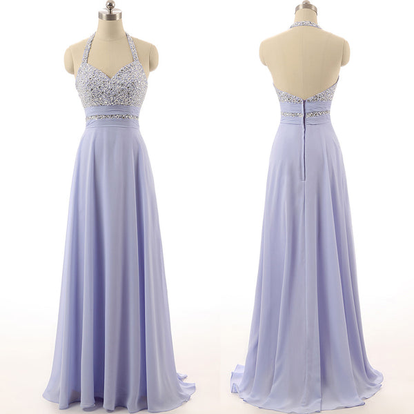 lavender prom dress,halter Prom Dress,long prom dress,chiffon prom dress,party dress,BD1686 - dream dress