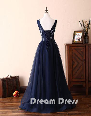 Dark blue lace tulle long prom dresses, formal dresses,ED150003