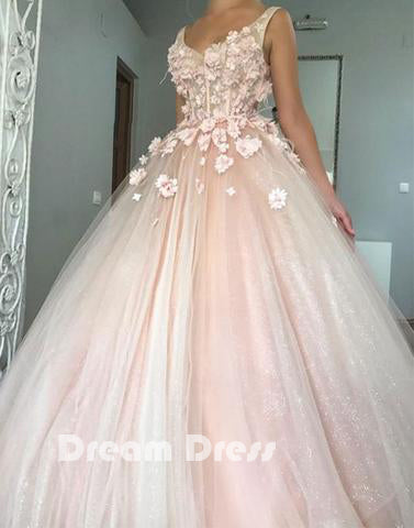 Pink v neck tulle long prom dress, pink evening dresses