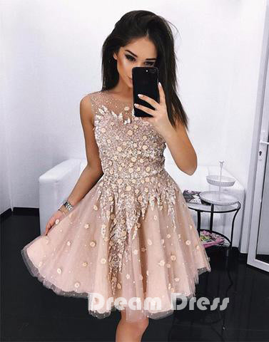 Cute round neck short prom dress, homecoming dresses,ED150007