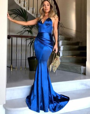 Simple blue v neck long prom dresses, mermaid evening dresses,PD23009