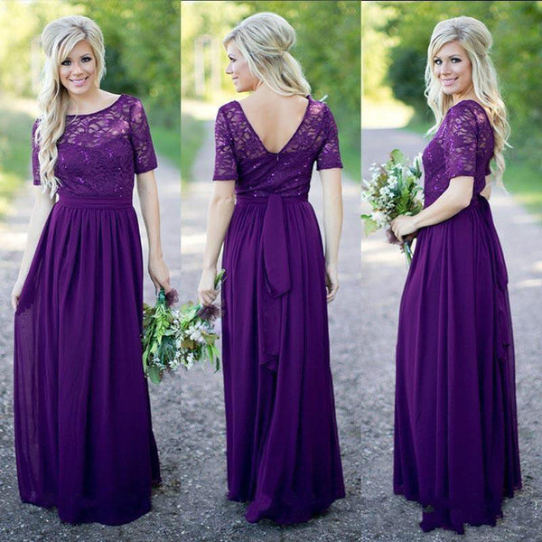 eggplant bridesmaid dress,long bridesmaid dress,short sleeves bridesmaid dress,lace bridesmaid dress,BD1626 - dream dress