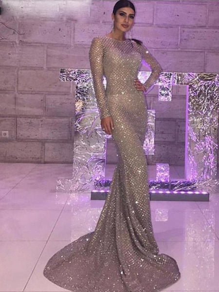 Sparkly Sequin Prom Dresses Long Sleeve O-Neck Mermaid Prom/Evening Dresses,PD3793