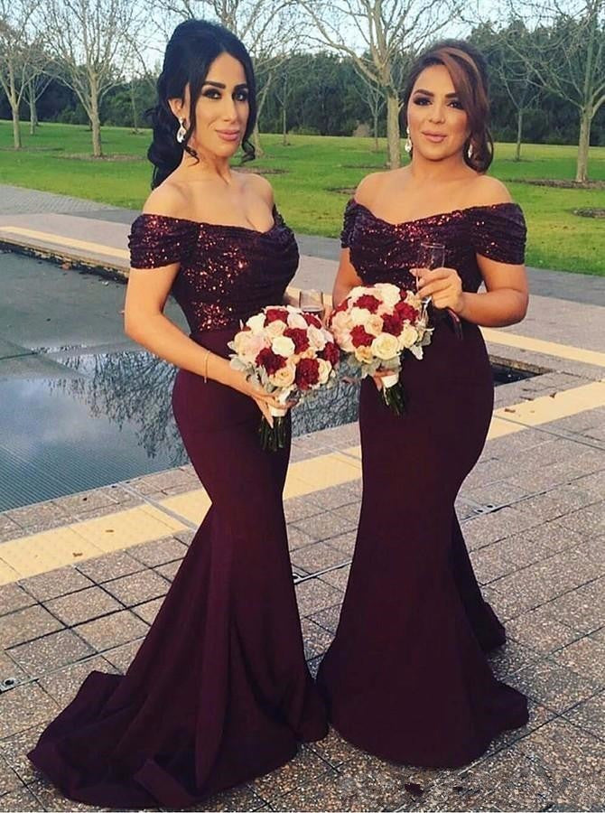 off shoulder long mermaid bridesmaid dress,BD2792 - dream dress