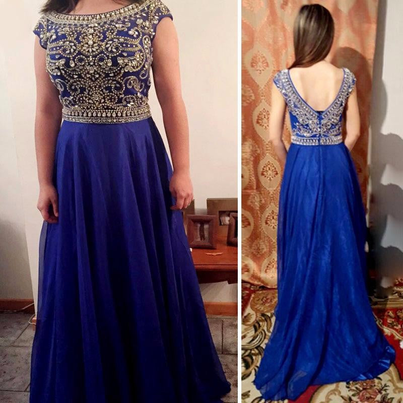 royal blue prom dress, beaded prom dress,long green prom dress, cap sleeves prom dress,chiffon evening gown,BD3154 - dream dress