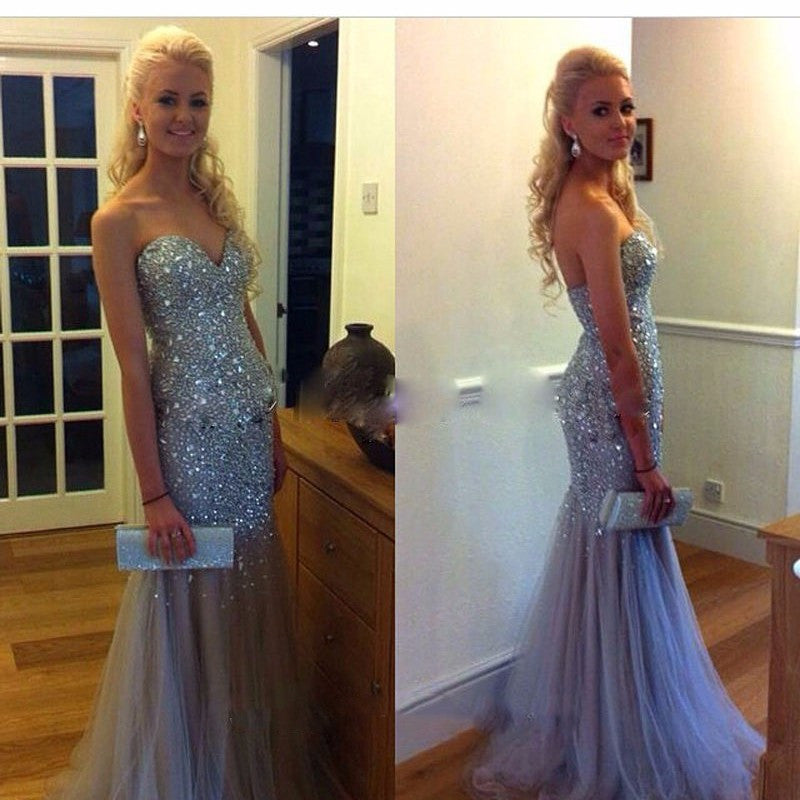 beaded Long tulle sweetheart Prom Dress,charming evening Dress, BD2449 - dream dress