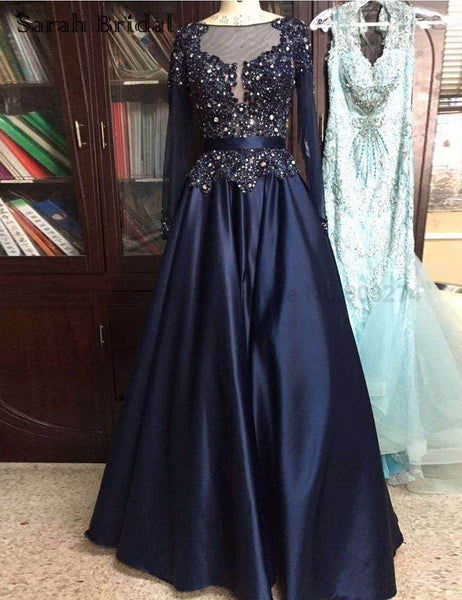Navy prom dress,A-line Prom Dress,long sleeves prom dress,beaded prom dress,formal evening gown 2017,BD3690 - dream dress