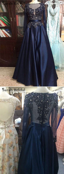 Navy prom dress,A-line Prom Dress,long sleeves prom dress,beaded prom dress,formal evening gown 2017,BD3690