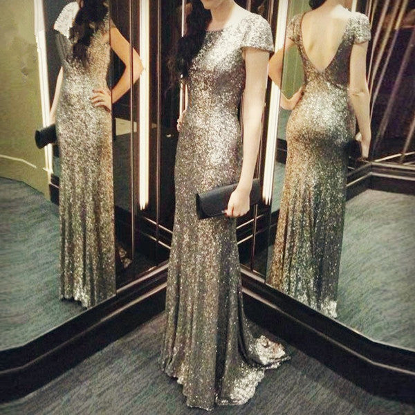 sequin prom dress, long prom dress,short sleeves prom dress,formal prom dress,charming evening gown,BD3155 - dream dress