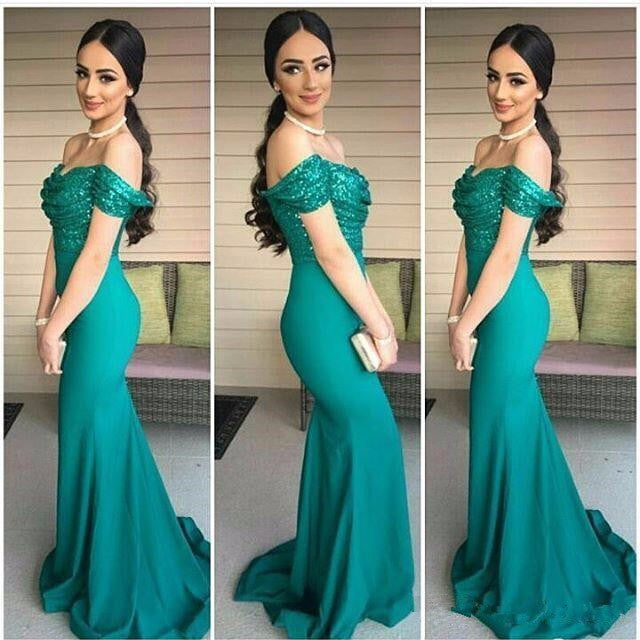 off shoulder prom dress, elegant prom dress,long green prom dress, charming prom dress,mermaid evening gown,BD3153 - dream dress