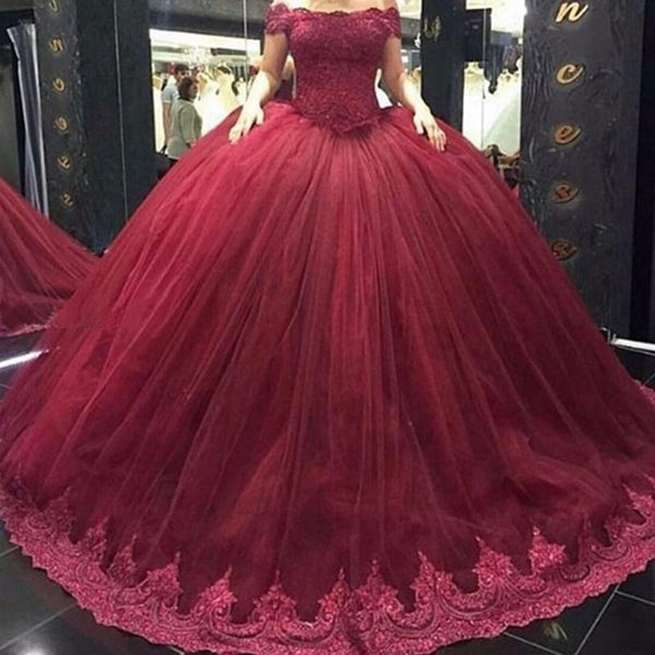 A-line off shoulder burgundy prom dress,long evening gown,BD3158
