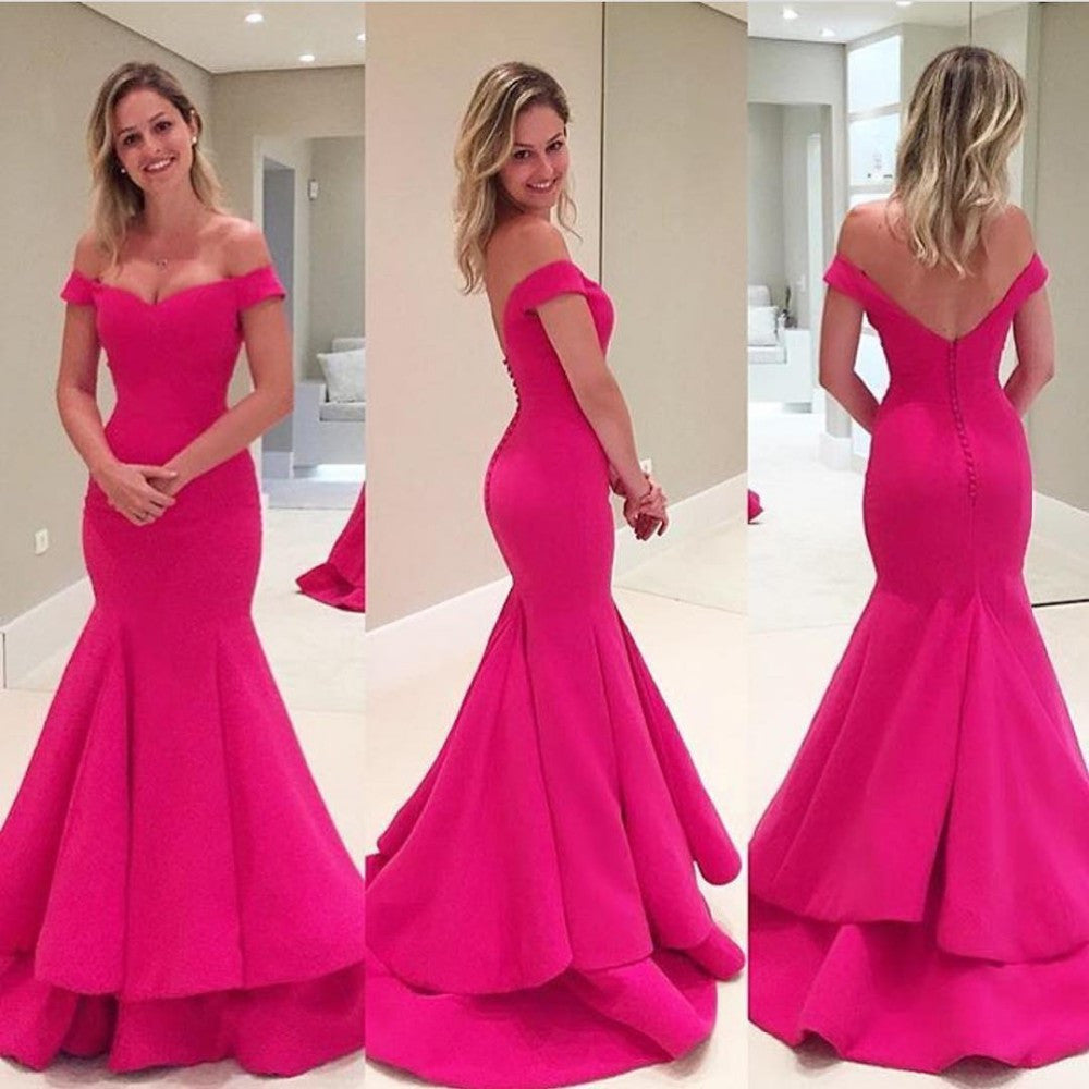 Hot Pink Prom Dresses with Straps