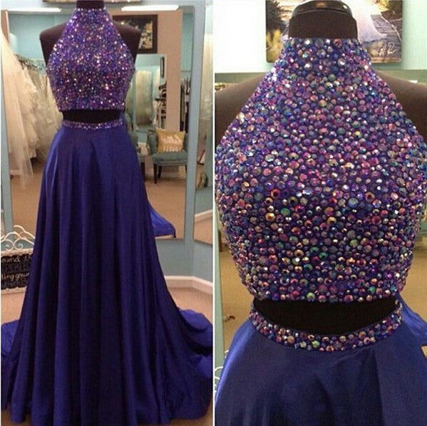purple prom dress,long prom dress,high neck prom dress,beaded prom dress,two pieces evening gown,BD3157 - dream dress