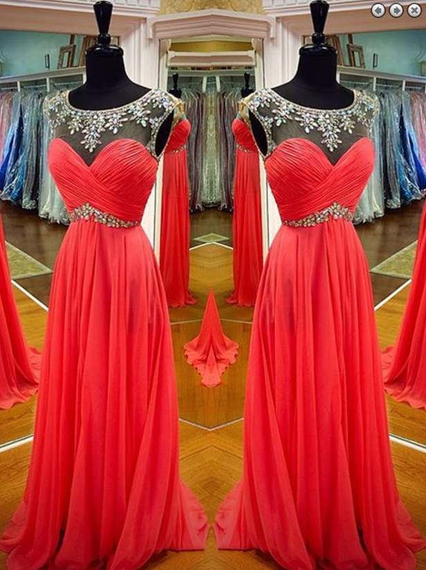 red prom dress,long Prom Dress,beading prom dress,chiffon evening dress,charming evening dress,BD2960 - dream dress