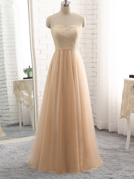 Beautiful Prom Dresses Sweetheart Aline Floor-length Pearls Long Tulle Prom Dresses,PD3701