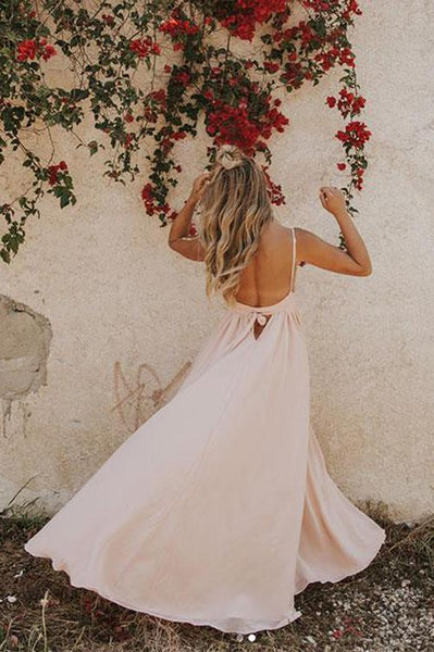 Simple Prom Dresses with Spaghetti Straps Aline V neck Open Back Pink Prom Dresses,PD3732