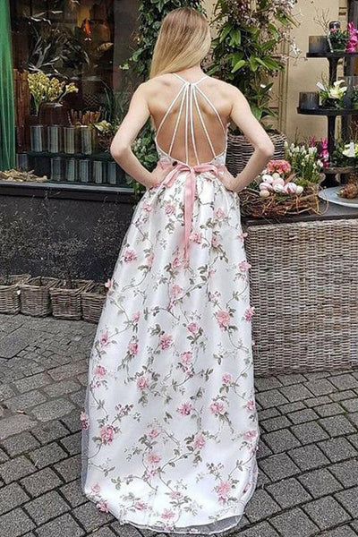 Floral Lace Prom Dresses A-line Pink Flowers Long Open Back Cheap Prom Dresses,PD3734