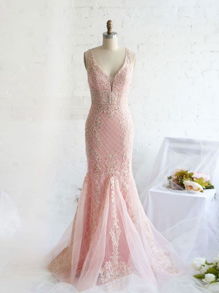 Beautiful Prom Dresses with Straps Mermaid Open Back Pink Prom Dress Long Evening Dresses,PD3742