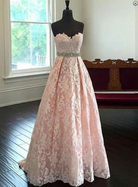 blush pink prom dress,long Prom Dress,lace prom dress,sweetheart evening dress,evening gown 2017,BD2897 - dream dress