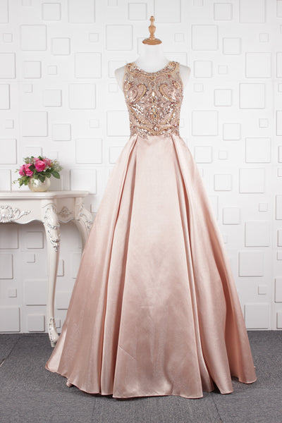 A line Round Neck Sequin Satin Prom Dresses Evening Prom gown,MD202074