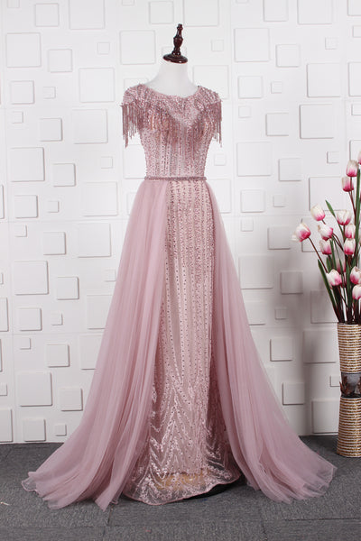 A Line Beading Round Neck Tulle Prom Dresses Evening Prom gown,MD202068
