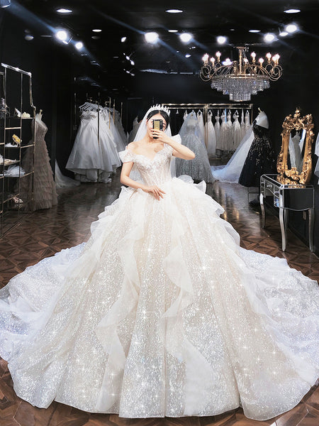 Ball Gown Cape Sleeves Sweetheart Lace Tulle Wedding Dresses,MD202076
