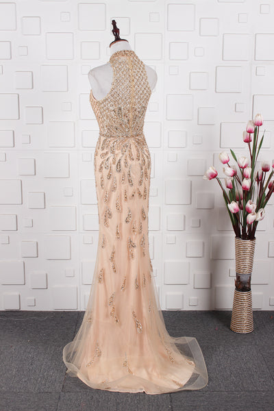Mermaid High Neck Beading Floor Length Tulle Prom Dresses Evening Prom gown,MD202056