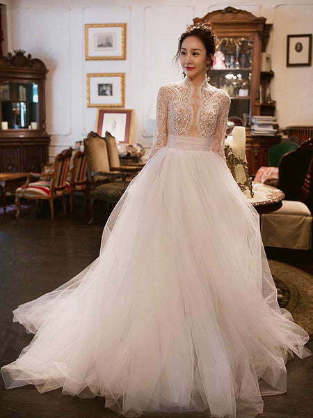 A Line Long Sleeves Illusion Beading Tulle Wedding Dresses,MD202078