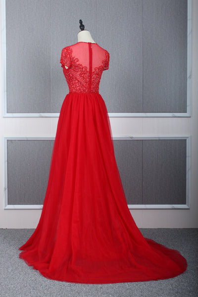 A Line Bateau Cap Sleeves Beading Tulle Prom Dresses Evening Prom gown,MD202065