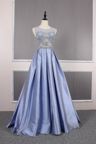 A Line Illusion Beading Satin Prom Dresses Evening Prom gown,MD202063