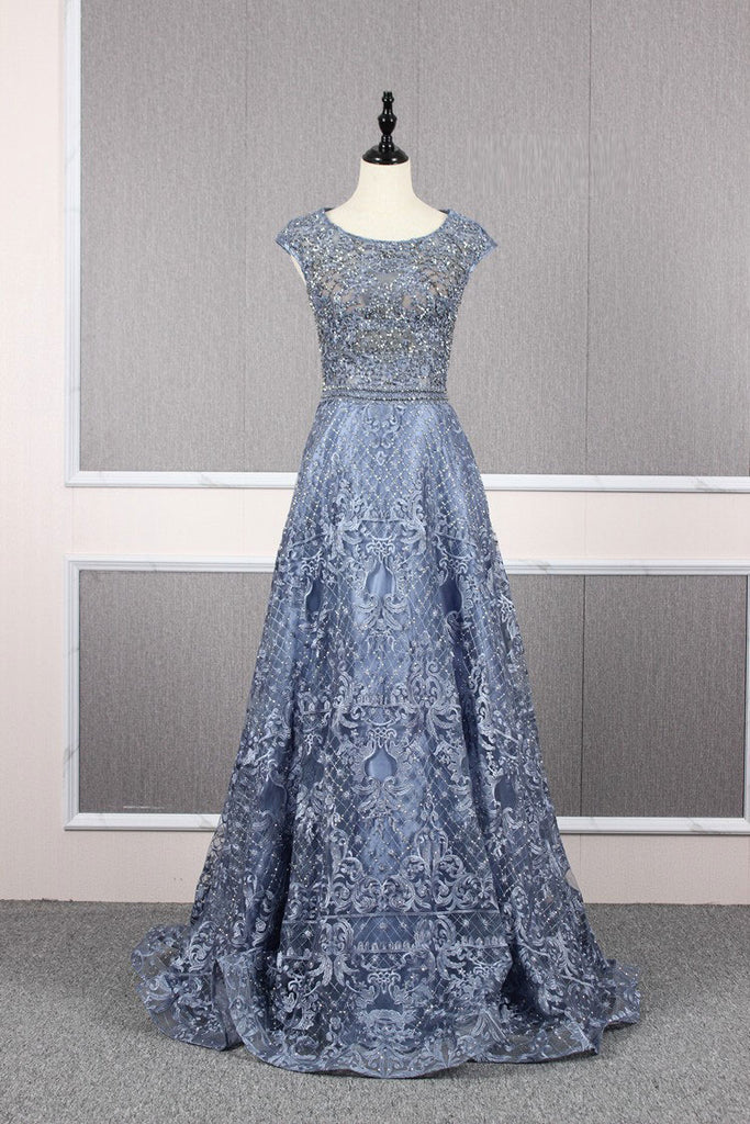 A Line Cap Sleeves Lace Round Neck Tulle Prom Dresses Evening Prom gown,MD202060