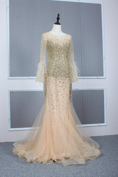 Mermaid Beading Long Sleeves Round Neck Tulle Prom Dresses Evening Prom gown,MD202072