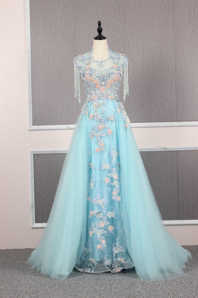 A Line Cap Sleeves Illusion  Applique Tulle Prom Dresses Evening Prom gown,MD202061