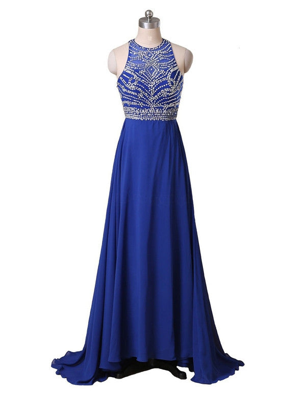 beaded long chiffon royal blue prom dress,BD2967 - dream dress