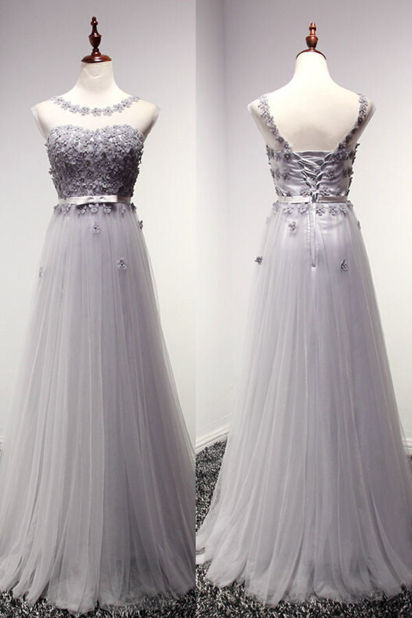 light gray Prom Dresses,tulle prom dress,charming prom Dress,lace up prom dress,BD0402 - dream dress