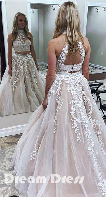 ed10c9ebea51 Cute two pieces lace applique tulle long prom dresses