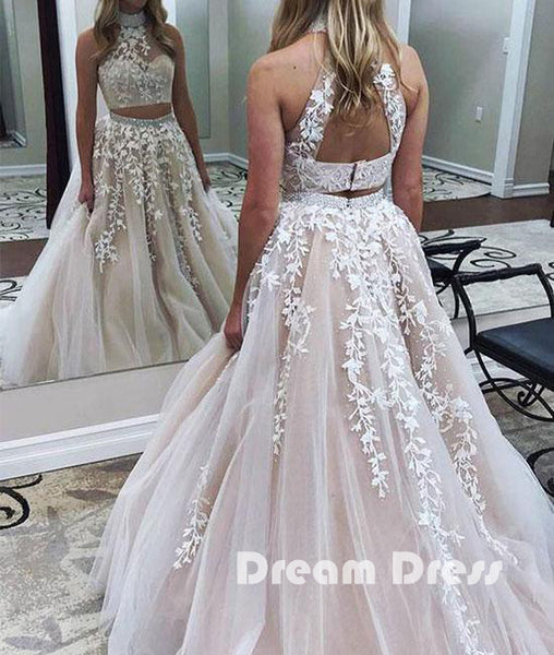 Cute two pieces lace applique tulle long prom dresses, evening dresses