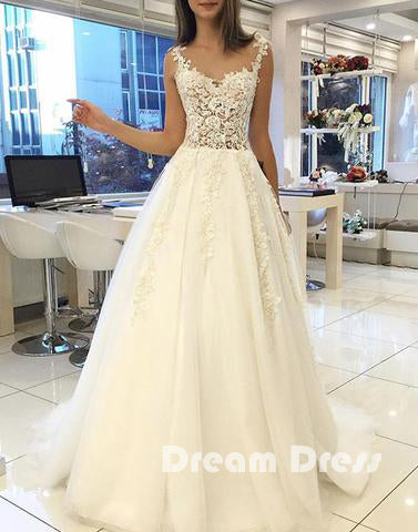 White lace tulle long prom dresses, wedding dresses,PD020004