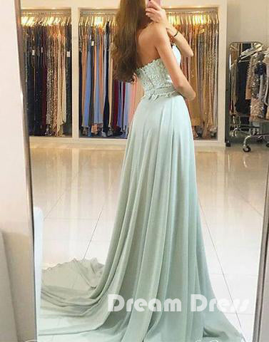 Green lace long prom dresses, green evening dresses,PD020005