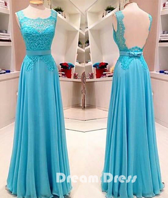 Blue lace long prom dress, blue evening dress for teens