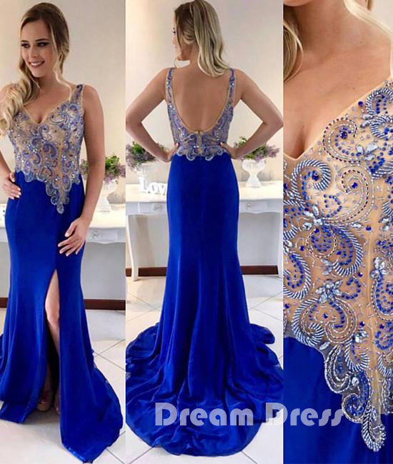 Unique v neck beaded royal blue prom dress, blue evening dresses,PD020012