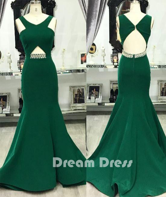 Green v neck mermaid long prom dress, green evening dress for teens
