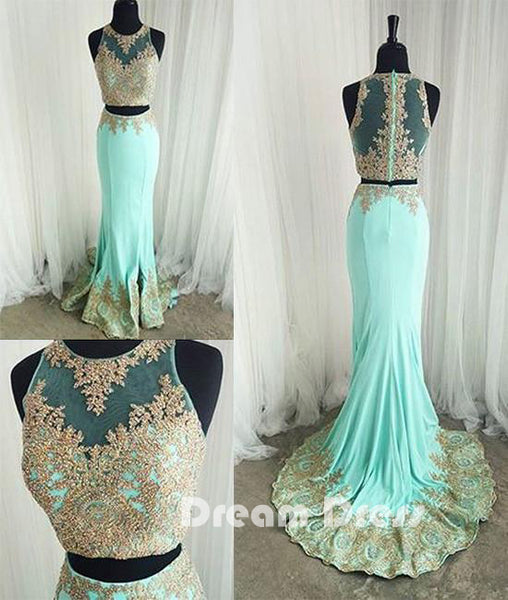 Cute two pieces green lace mermaid long prom dresses, evening dresses,PD030005
