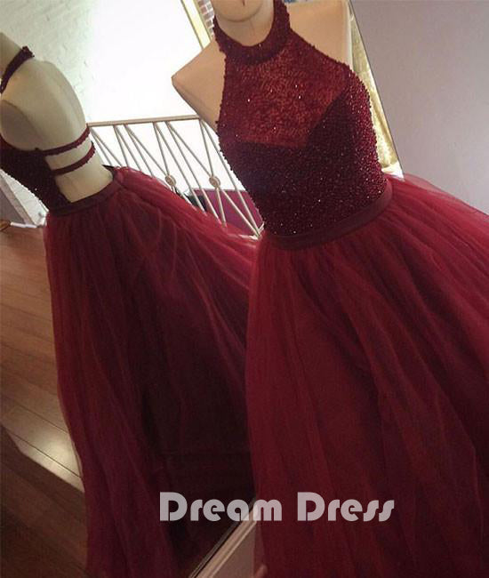 tulle sequin long prom dress, cute evening dress for teens