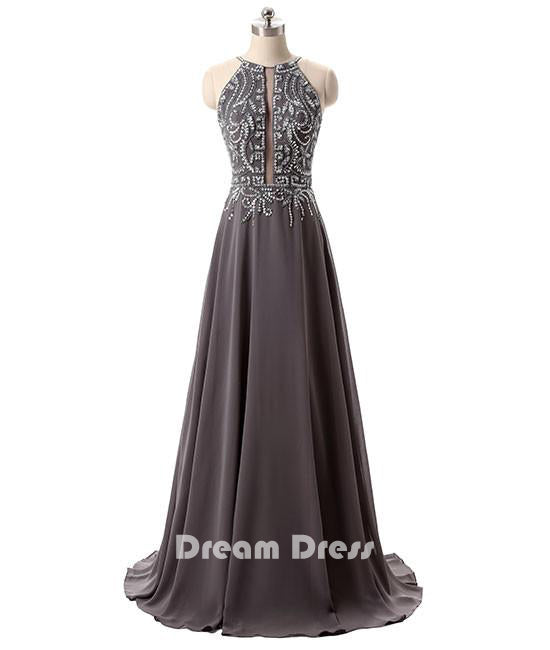 Dark Gray Backless Sequin Long Prom Dress For Teens Gray Evening Dres