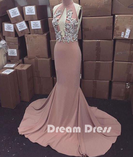 Pink high neck long prom dress for teens, evening dresses,PD040008