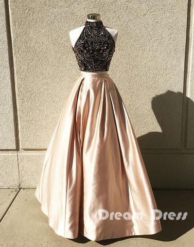two pieces beads long prom dress, evening dresses