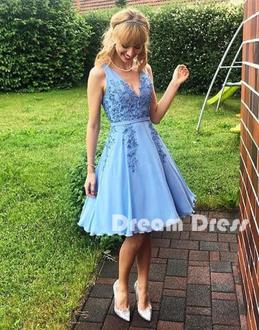 Blue v neck lace short prom dress, blue bridesmaid dress