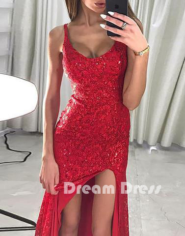 Red lace sequins long prom dress, mermaid evening dress