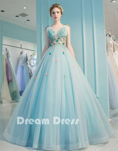 Blue v neck tulle long prom dress, blue evening dresses,PD090009
